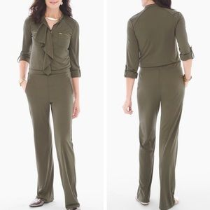 Chico's Green Utility Jumpsuit with Ruffle